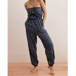 AERIE Tie Front Strapless Jumpsuit with Pockets